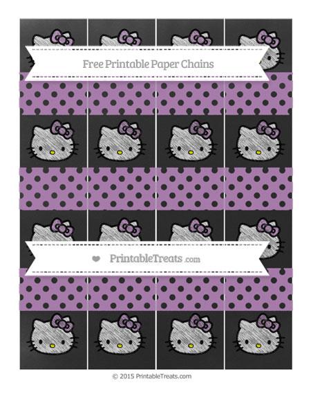 Free Pastel Light Plum Polka Dot Chalk Style Hello Kitty Paper Chains