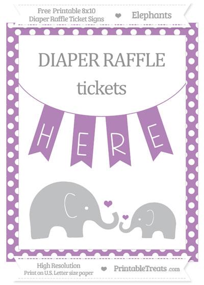 Free Pastel Light Plum Polka Dot Elephant 8x10 Diaper Raffle Ticket Sign