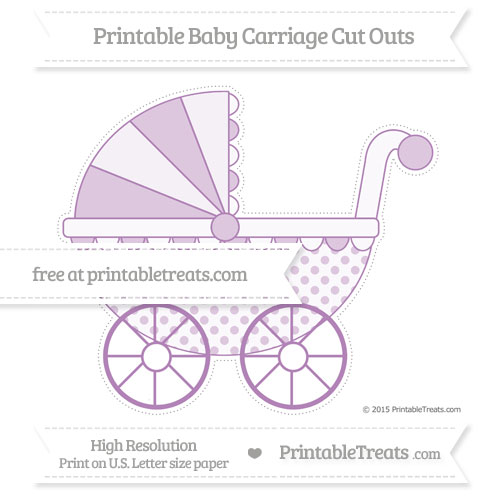 Free Pastel Light Plum Polka Dot Extra Large Baby Carriage Cut Outs