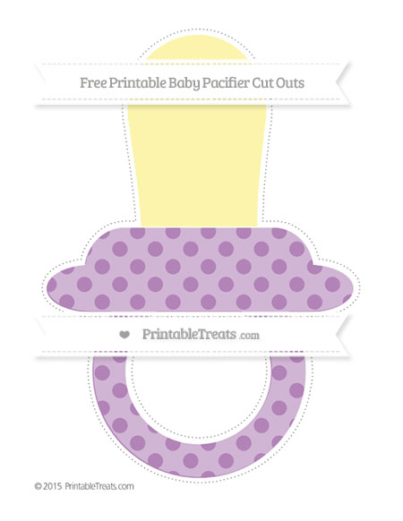 Free Pastel Light Plum Polka Dot Extra Large Baby Pacifier Cut Outs