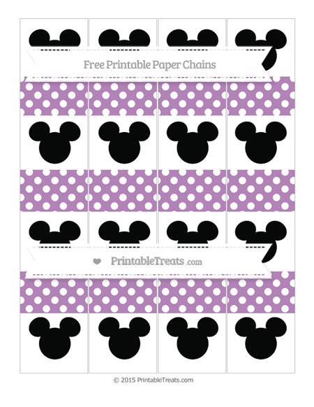 Free Pastel Light Plum Polka Dot Mickey Mouse Paper Chains