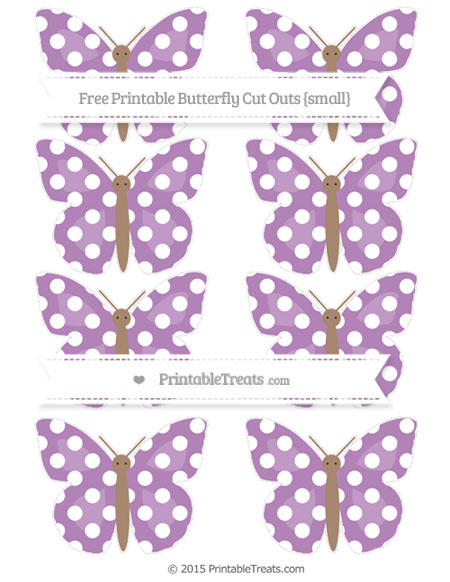 Free Pastel Light Plum Polka Dot Small Butterfly Cut Outs