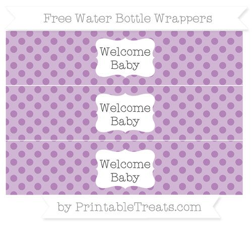 Free Pastel Light Plum Polka Dot Welcome Baby Water Bottle Wrappers
