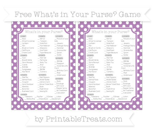 Free Pastel Light Plum Polka Dot What's in Your Purse Baby Shower Game