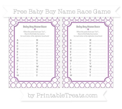 Free Pastel Light Plum Quatrefoil Pattern Baby Boy Name Race Game