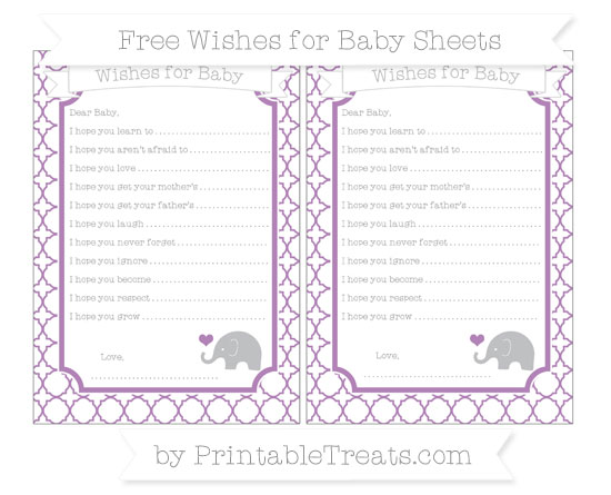 Free Pastel Light Plum Quatrefoil Pattern Baby Elephant Wishes for Baby Sheets
