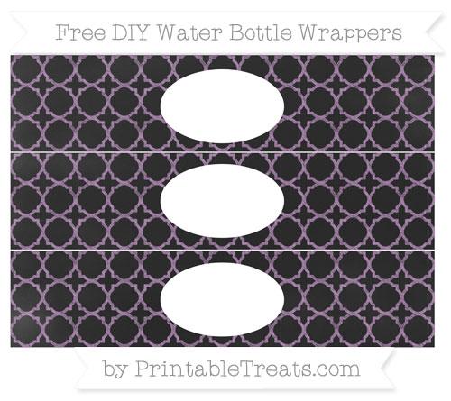 Free Pastel Light Plum Quatrefoil Pattern Chalk Style DIY Water Bottle Wrappers
