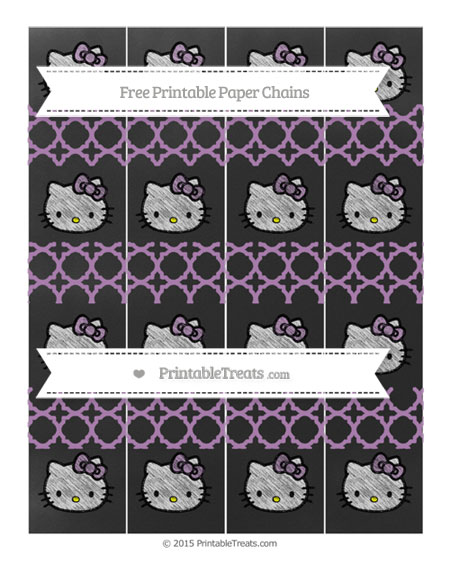 Free Pastel Light Plum Quatrefoil Pattern Chalk Style Hello Kitty Paper Chains