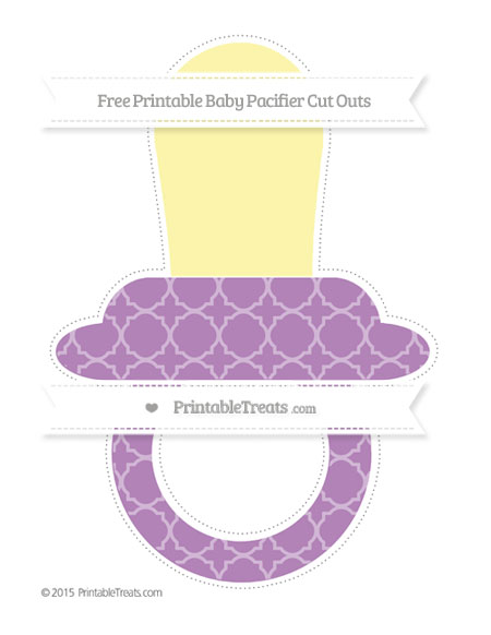 Free Pastel Light Plum Quatrefoil Pattern Extra Large Baby Pacifier Cut Outs