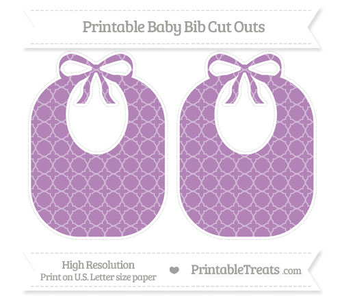 Free Pastel Light Plum Quatrefoil Pattern Large Baby Bib Cut Outs