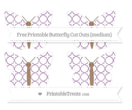 Free Pastel Light Plum Quatrefoil Pattern Medium Butterfly Cut Outs