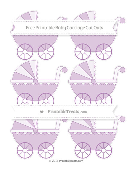 Free Pastel Light Plum Small Baby Carriage Cut Outs