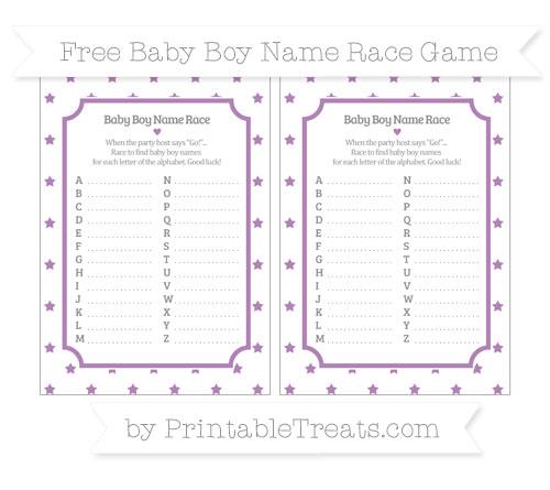 Free Pastel Light Plum Star Pattern Baby Boy Name Race Game