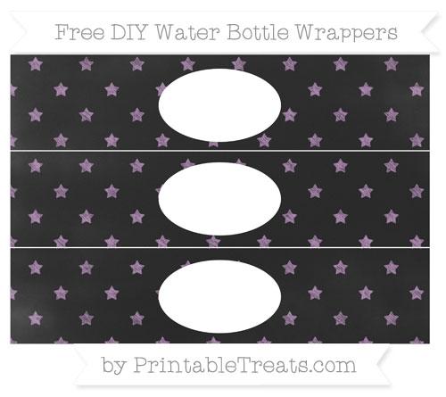 Free Pastel Light Plum Star Pattern Chalk Style DIY Water Bottle Wrappers