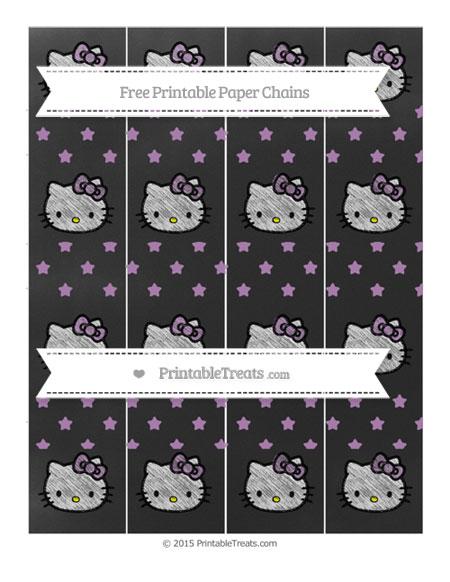 Free Pastel Light Plum Star Pattern Chalk Style Hello Kitty Paper Chains
