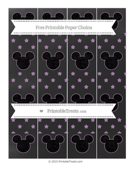 Free Pastel Light Plum Star Pattern Chalk Style Mickey Mouse Paper Chains