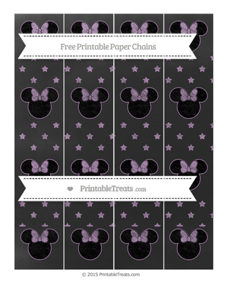 Free Pastel Light Plum Star Pattern Chalk Style Minnie Mouse Paper Chains