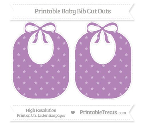 Free Pastel Light Plum Star Pattern Large Baby Bib Cut Outs
