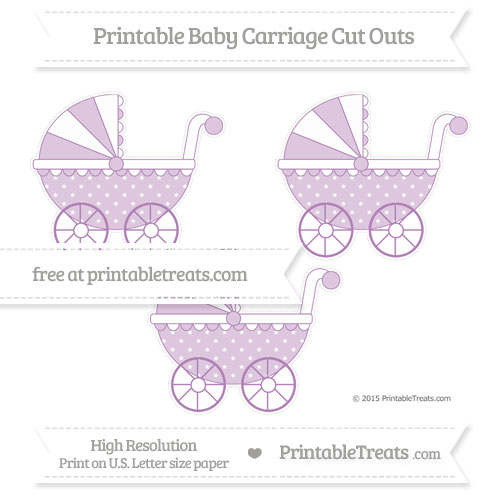 Free Pastel Light Plum Star Pattern Medium Baby Carriage Cut Outs
