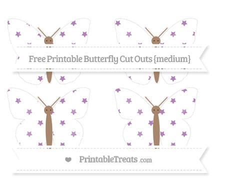 Free Pastel Light Plum Star Pattern Medium Butterfly Cut Outs