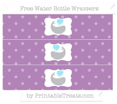 Free Pastel Light Plum Star Pattern Whale Water Bottle Wrappers