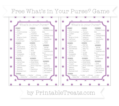 Free Pastel Light Plum Star Pattern What's in Your Purse Baby Shower Game