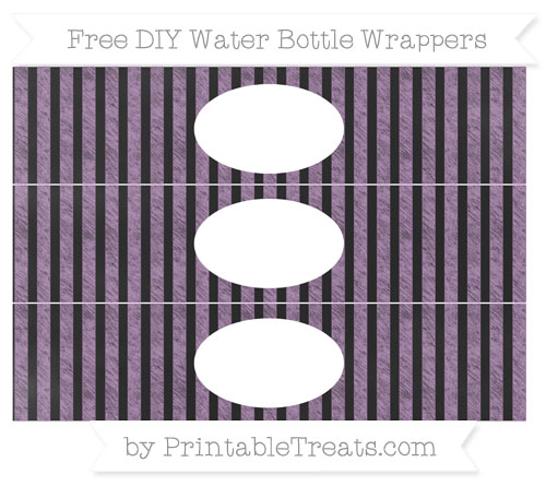 Free Pastel Light Plum Striped Chalk Style DIY Water Bottle Wrappers