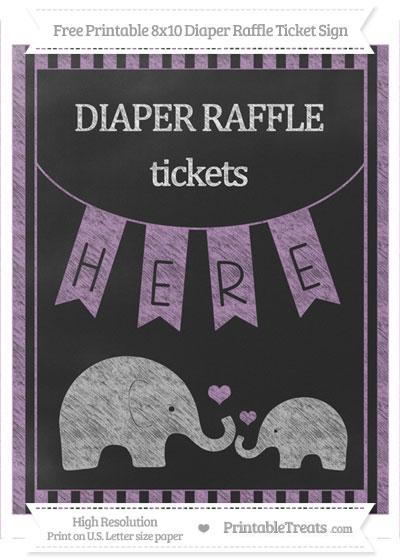 Free Pastel Light Plum Striped Chalk Style Elephant 8x10 Diaper Raffle Ticket Sign
