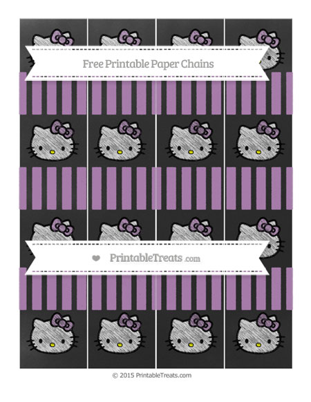 Free Pastel Light Plum Striped Chalk Style Hello Kitty Paper Chains