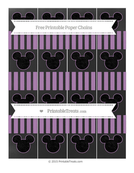 Free Pastel Light Plum Striped Chalk Style Mickey Mouse Paper Chains
