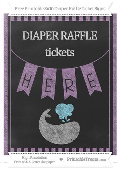 Free Pastel Light Plum Striped Chalk Style Whale 8x10 Diaper Raffle Ticket Sign