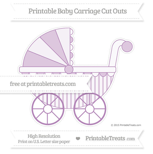 Free Pastel Light Plum Striped Extra Large Baby Carriage Cut Outs
