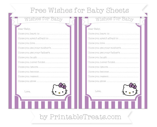 Free Pastel Light Plum Striped Hello Kitty Wishes for Baby Sheets
