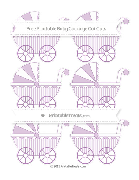 Free Pastel Light Plum Striped Small Baby Carriage Cut Outs