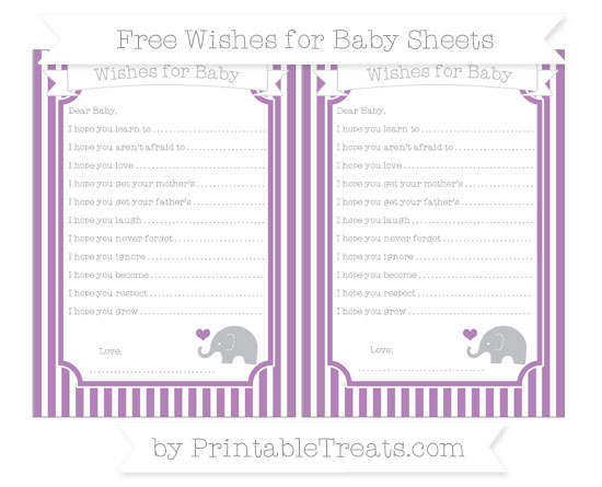 Free Pastel Light Plum Thin Striped Pattern Baby Elephant Wishes for Baby Sheets