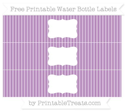 Free Pastel Light Plum Thin Striped Pattern Water Bottle Labels
