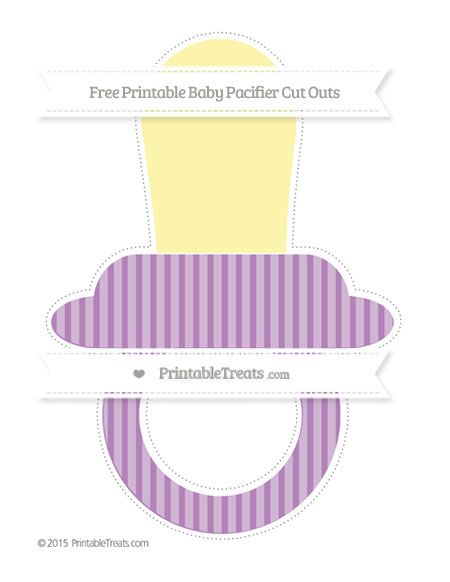 Free Pastel Light Plum Thin Striped Pattern Extra Large Baby Pacifier Cut Outs