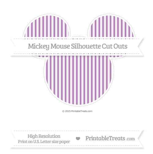 Free Pastel Light Plum Thin Striped Pattern Extra Large Mickey Mouse Silhouette Cut Outs