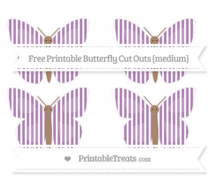 Free Pastel Light Plum Thin Striped Pattern Medium Butterfly Cut Outs
