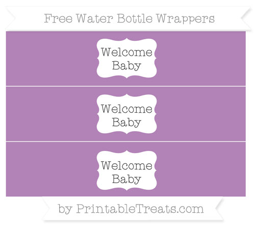 Free Pastel Light Plum Welcome Baby Water Bottle Wrappers