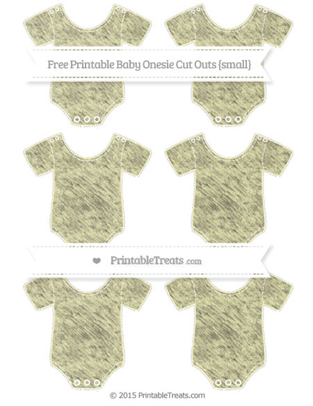Free Pastel Light Yellow Chalk Style Small Baby Onesie Cut Outs