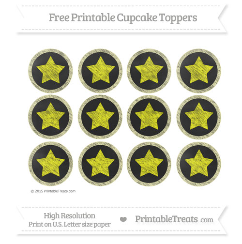 Free Pastel Light Yellow Chalk Style Star Theme Cupcake Toppers