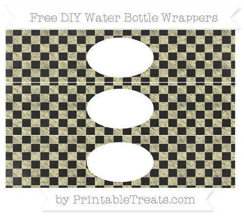 Free Pastel Light Yellow Checker Pattern Chalk Style DIY Water Bottle Wrappers