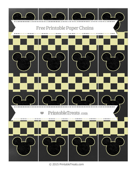 Free Pastel Light Yellow Checker Pattern Chalk Style Mickey Mouse Paper Chains