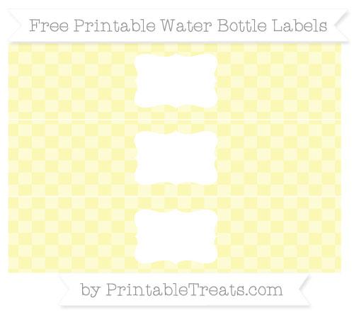 Free Pastel Light Yellow Checker Pattern Water Bottle Labels
