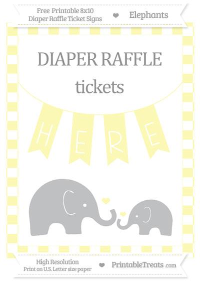 Free Pastel Light Yellow Checker Pattern Elephant 8x10 Diaper Raffle Ticket Sign