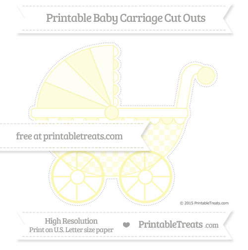 Free Pastel Light Yellow Checker Pattern Extra Large Baby Carriage Cut Outs