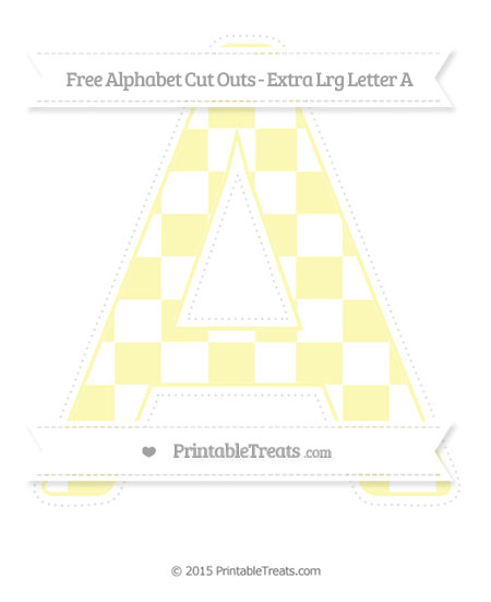 Free Pastel Light Yellow Checker Pattern Extra Large Capital Letter A Cut Outs