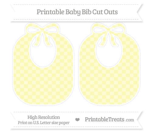 Free Pastel Light Yellow Checker Pattern Large Baby Bib Cut Outs
