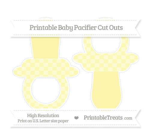 Free Pastel Light Yellow Checker Pattern Large Baby Pacifier Cut Outs